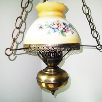 Swag Lamps Hurricane Gone With the Wind, White glass frost painted harvest gold to white, pastel flowers, 2 available