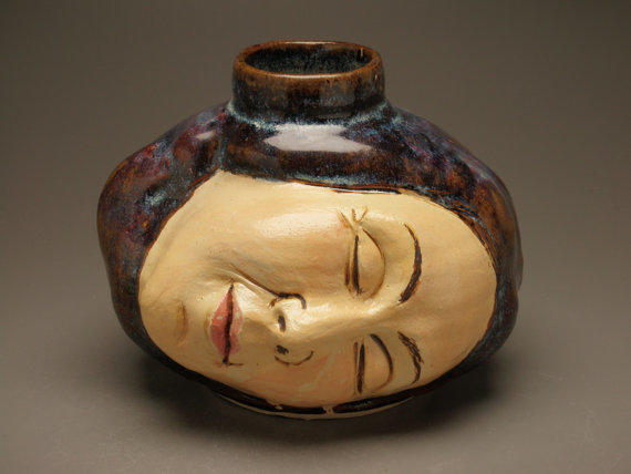 Face Vase Ceramic Head Sculpture Ikebana From Adrienart On