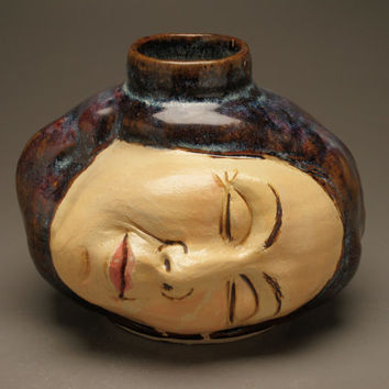 Face Vase Ceramic Head Sculpture Ikebana Pot Surreal Art Dreaming Vessel