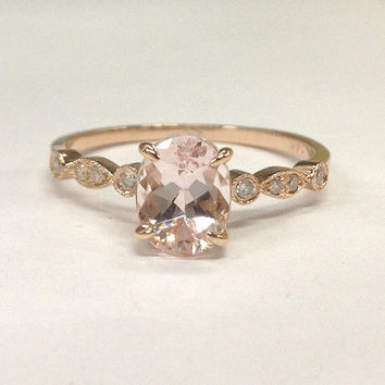 Morganite Engagement Ring 14K Rose Gold!Diamond Wedding Bridal Ring,Art Deco Antique,6x8mm Oval Cut Pink Morganite,Can make matching band