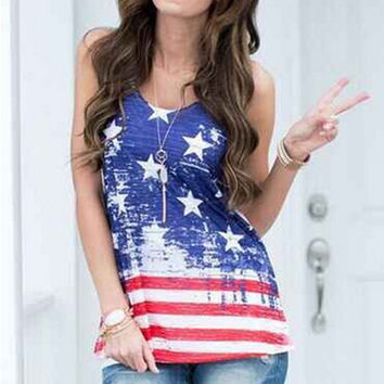Womens Casual US Flag Printed Tank Top Sleeveless T-Shirts Gift 111