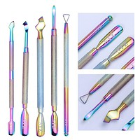 1PCS Dual-ended Chameleon Nail Cuticle Pusher Polish Gel Remover Rainbow Stainless Steel Manicure Nail Care Tool LAGT01-05