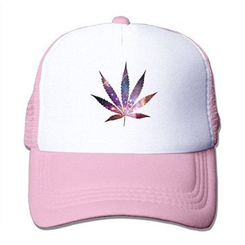 SHINENGST Weed Leaf Rainbow colorful Mesh Trucker Caps/Hats Adjustable For Unisex Pink
