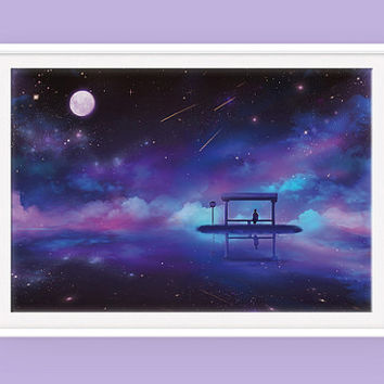 Anime Space Poster: Last Stop, Bus Stop, Night Sky, Universe Poster, Scenic Poster, Sky Poster, Space Art, Stars Poster, Fantasy Poster