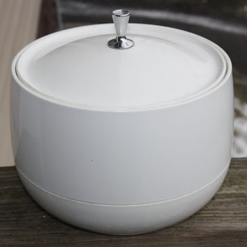 Mid Century Modern Hot/Cold Food Storage, Retro Ice Bucket, Insulated Container, White Ice Bucket, Vintage Ice Bucket, Retro Serving Dish