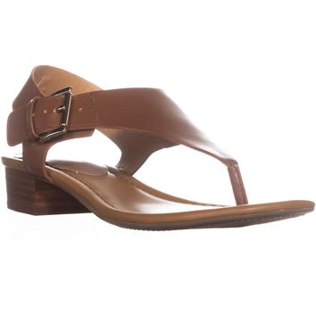 Tommy Hilfiger Kitty Open Toe Casual TStrap Sandals, Dark Brown, 9.5 US