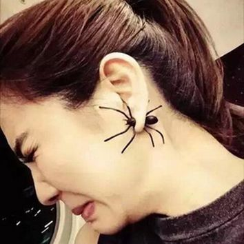 1 PC Halloween Ornaments Black Spider Earrings Double-Sided Earrings Masquerade Party Alloy Festival Gifts Men's Suits Brooches
