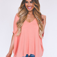 Oversized V Top- Peach