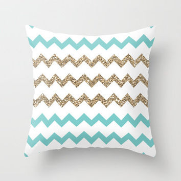Blue and Gold Glitter Chevrons Throw Pillow by PrintableWisdom | Society6