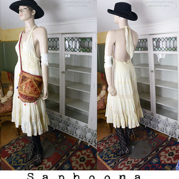 Vintage 60's 70's boho bohemian cotton halter dress sundress tiered crochet trim empire waist hippie festival summer ivory yellow beach W SH