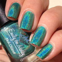 "Nail polish - ""Land of Confusion"" bright green linear holographic"