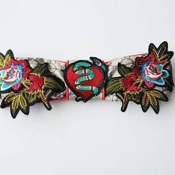 GUCCI Flower Embroidered Silk Headband I