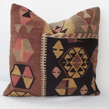 ORGANIC Dyed Handwoven Turkish Kilim Pillow, Pale Brown Yellow Pink Decorative Kilim Pillow, Kilim Throw Pillow 16' x 16' INCH