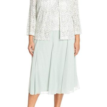 Alex Evenings - 4121143 Lace Tea Length Dress with Jacket