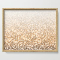 Gradient orange and white swirls doodles Serving Tray by savousepate