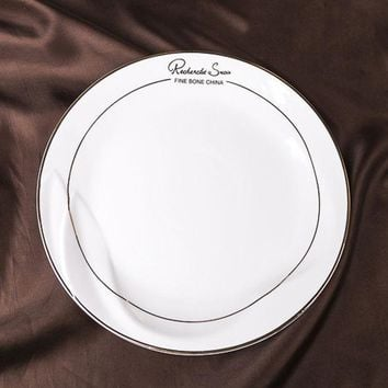 CREYU3C 8/10/12Inch Flat Plate  Bone ChinaDish Gold Inlay Ceramic Western Dinner Plate  Quality Steak  Sandwiches Cold Dish Cake  Pasta