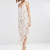 ASOS PREMIUM Printed Slip Dress With Embellishment at asos.com