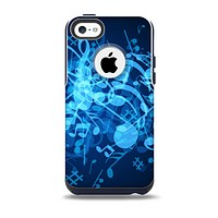 The Glowing Blue Music Notes Skin for the iPhone 5c OtterBox Commuter Case