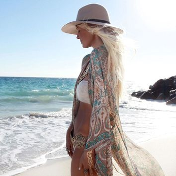 Vintage Women Floral Loose Shawl Kimono Cardigan Boho Long Shirt Casual Chiffon Bikini Cover Up Beach Tops Blouse