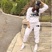 THE NORTH FACE Women Letter Pullover Sweater Pants Set Two-Piece White
