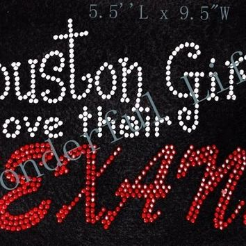 Free shipping houston girls love their texans  hotfix  rhinestone Iron On bling transfer  design