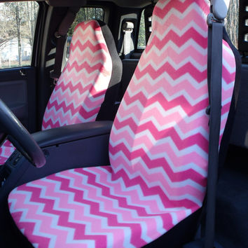 1 Set Of Pink and White Seat Covers and 1 Piece Steering Wheel Cover Custom Order