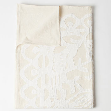 Queen Bed Cover in Applique Butterfly White