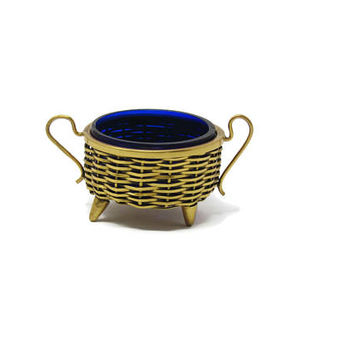 Gold Basket Salt Cellar Cobalt Glass - Complete Footed Salt Cellar - Cobalt Glass Master Salts - Basket Weaved Salt Cellar Nantucket