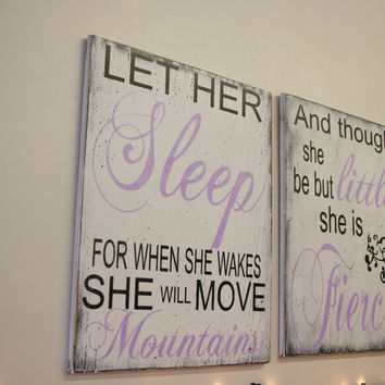 Let Her Sleep For When She Wakes She Will Move Mountains Wood Sign Girls Nursery Wall Sign Shabby Chic Nursery Lavender Nursery Handpainted