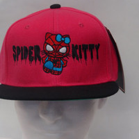 Hello Kitty Spiderman embroidered on a snapback awesome design