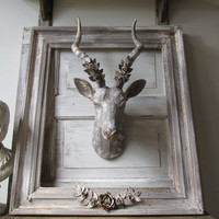 Painted antelope head faux taxidermy wall mount wall hanging farmhouse gray lg antlers white and gold accents home decor anita spero design