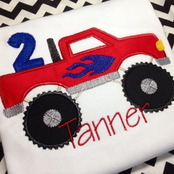 Birthday Onesuit-T-Shirt-Short Sleeve-Long Sleeve-Personalized-Monster Truck w/ Name & Age