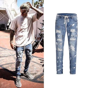 2018 New Arrivals fashion mens denim jeans pants cool blue jogger damage splash-ink stretch distressed ripped skinny Casual