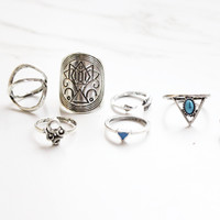 Beach Boho Silver Ring Set