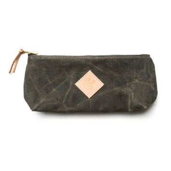 LARGE WAXED CANVAS POUCH (ARMY)