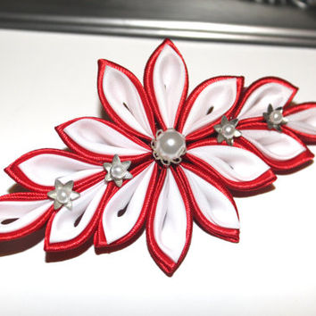 Kanzashi flower french barrette clip Christmas hair clip Holiday hair clip Women hair clip Wedding kanzashi hair clip in Red and White