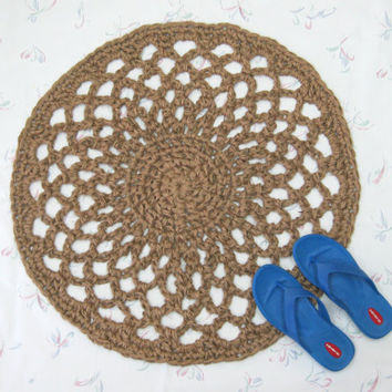 Round Jute Throw Rug - Round Lacy Rug - Accent Rug - Primitive Decor - Indoor Outdoor Rug - Round Mat - All Natural Vegan Rug - Eco Friendly