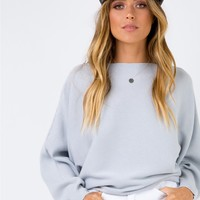Winters Spell Ribbed Top Light Grey