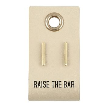 Raise The Bar Leather Tag Earrings