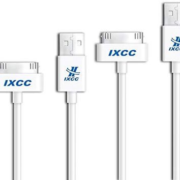 [2 Packs] iXCC 10ft EXTRA LONG 30 Pin to USB SYNC and Charge Cable Cord for Apple iPhone 4/4s, iPod 1-6 Gen, iPod 1-4 Gen, iPad 1-3 Gen
