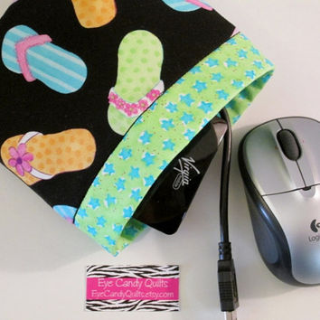 Flip Flop pouch, bag, Bright, Green, Blue stars, Pouch, Carry all