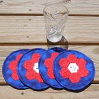 Circular Drink Coasters, Cotton Coasters, Summer Party Decorations, Hand Pieced Coasters, Set of 4