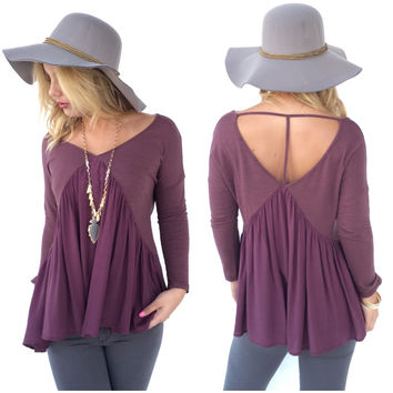 Paradise Open Back Blouse In Plum