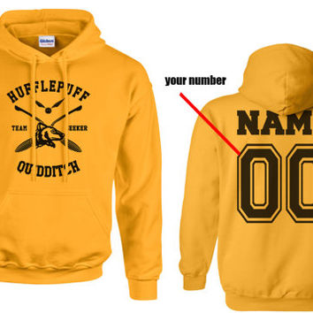 SEEKER - Custom Back, Hufflepuff Quidditch team Seeker Black print printed on Gold/Yellow Hoodie