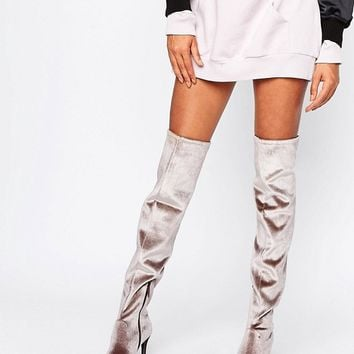 New Look Velvet Over The Knee High Heeled Boot at asos.com