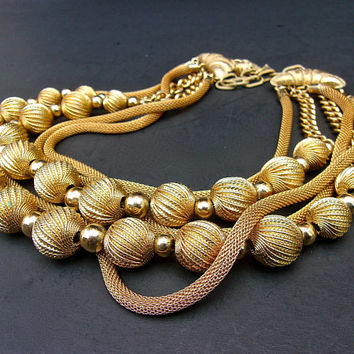 VENDOME Mesh & Fluted Bead Gold Tone Necklace, 5 Multi Strand, Vintage