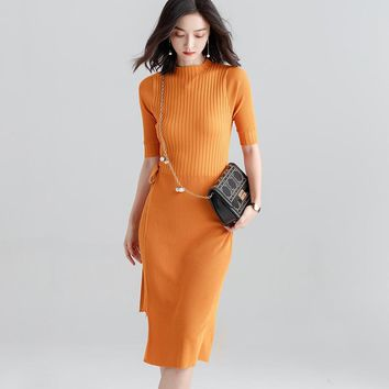 2018 New Autumn Women Long Knitted Sweater Dress Casual Half Sleeves Female Loose Pullovers Fashion Elegant Women Dress