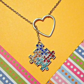 Autism Awareness Puzzle Piece Lariat Necklace with Rhinestones & Heart , handmade jewelry