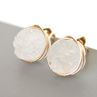 Stunning Snow White Druzy Quartz Stud Earrings Wire Wrapped Post 14k Gold Filled - Gift for Her, Under 25 dollars