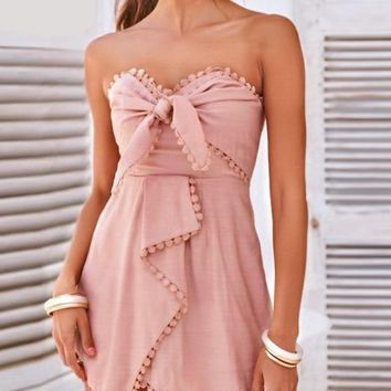 Heart Bow Pink Romper